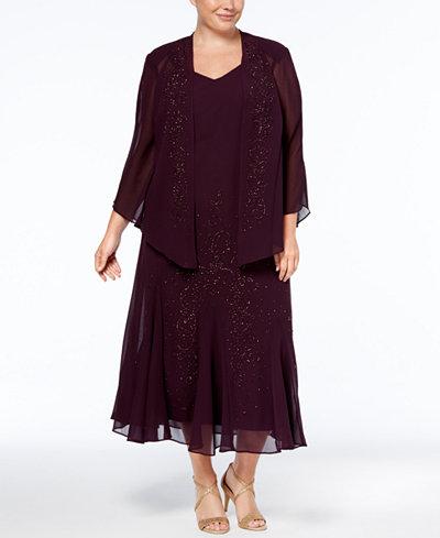 R Amp M Richards Plus Size Beaded V Neck Dress And Jacket