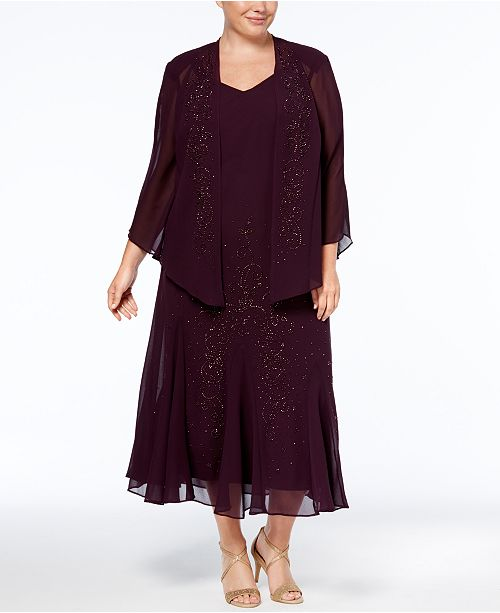 R & M Richards R&M Richards Plus Size Beaded V-Neck Dress and Jacket