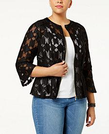 I.N.C. Plus Size Illusion Peplum Jacket, Created for Macy's