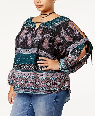 BCX Trendy Plus Size Cold-Shoulder Top