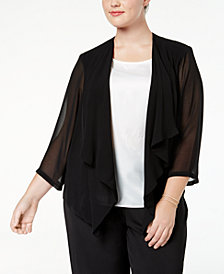 Calvin Klein Plus Size Illusion-Sleeve Draped Cardigan