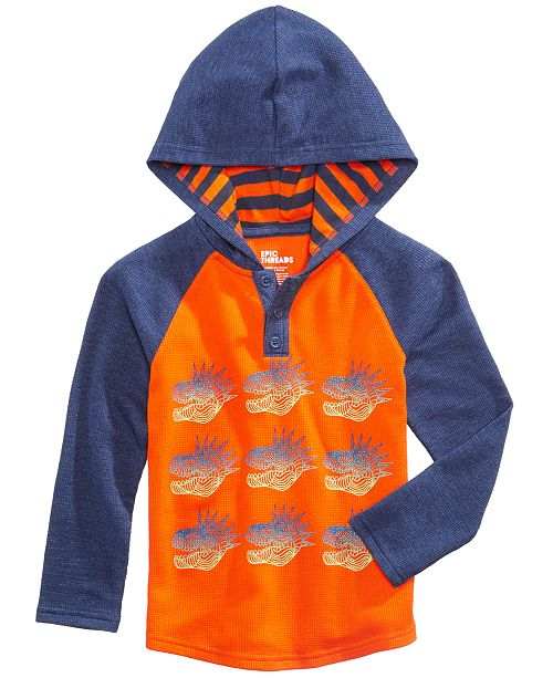 Epic Threads Dinosaur Graphic-Print Hooded Henley, Toddler Boys, Created for Macy's