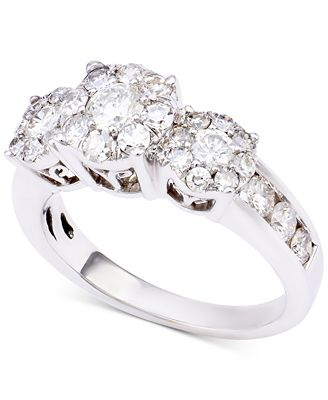 Diamond Triple Halo Engagement Ring (1-1/2 ct. t.w.) in 14k White Gold