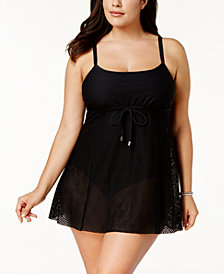 Swim Solutions Plus Size Tummy-Control Crochet Swimdress, Created for Macy's