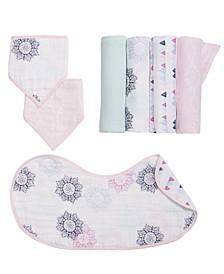 Baby Girls Printed Burpy Bib, Bandana Bibs & Swaddle Blankets