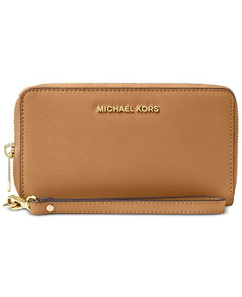 81976eade931 ... Michael Kors Jet Set Travel Multifunction Crossgrain Leather Wallet ...