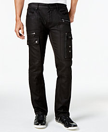 I.N.C. Men's Slim-Fit Stretch Black Cargo Jeans, Created for Macy's