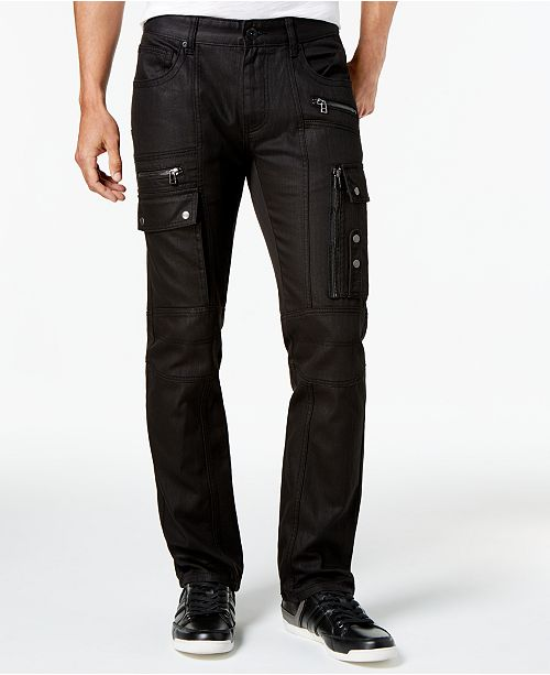 7e395a0f32904a I.N.C. Men's Slim-Fit Stretch Black Cargo Jeans, Created for Macy's
