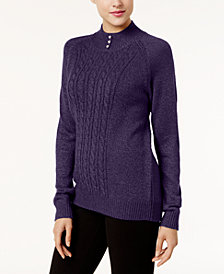 Karen Scott Petite Pearl-Button Mock-Neck Sweater, Created for Macy's