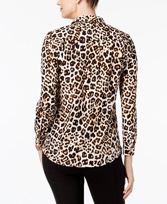 Charter Club Petite Leopard Print Blouse Created For Macy S Tops