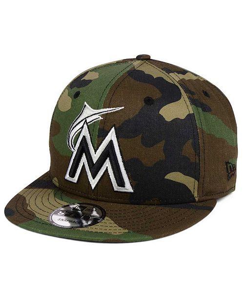 new styles f75de 9d167 ... New Era Miami Marlins Woodland Black White 9FIFTY Snapback Cap ...