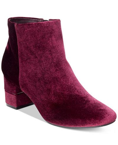 Alfani Women's Nickki Step 'N Flex Block-Heel Ankle Booties, Created For Macy's