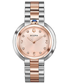 Bulova Women's Rubaiyat Diamond-Accent Two-Tone Stainless Steel Bracelet Watch 35mm