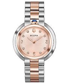Bulova Women's Rubaiyat Diamond-Accent Two-Tone Stainless Steel Bracelet Watch 35mm
