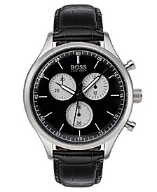 BOSS Hugo Boss Men's Chronograph Companion Black Leather Strap Watch 42mm