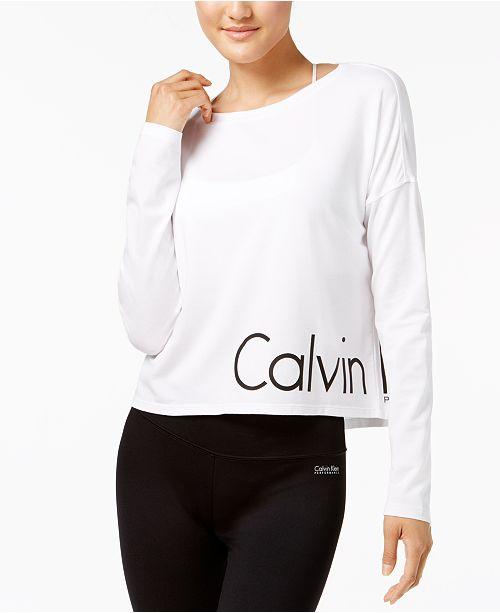 Calvin Klein Long-Sleeve Cropped Logo T-Shirt