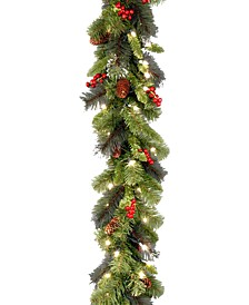 9' Crestwood Spruce Silver Bristle Garland With Pine Cones, Berries, Glitter & 50 Clear Lights