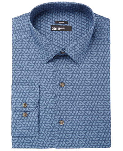 Bar III Men's Slim-Fit Stretch Easy-Care Blue Dot Print Dress Shirt, Created for Macy's