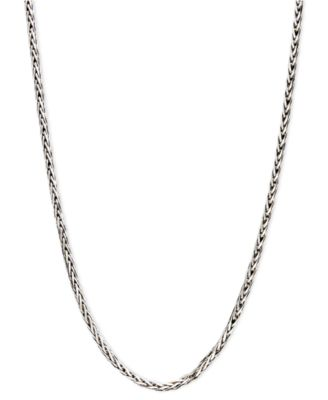 "14k White Gold Necklace, 18"" Diamond Cut Wheat Chain"