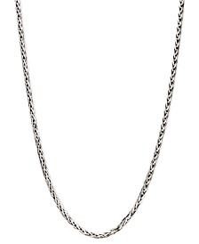"14k White Gold Necklace, 18"" Diamond Cut Wheat Chain"