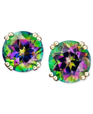 mystic rainbow emerald genuine fire earrings sterling solid stud natural item silver topaz fashion real cut