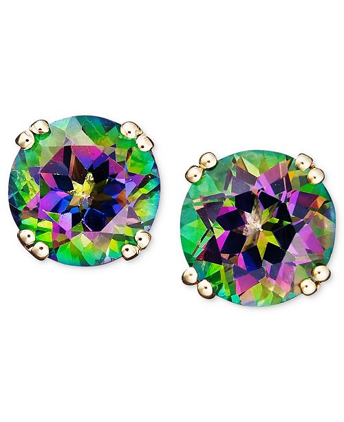 T W 14k Gold Earrings Mystic Topaz Studs 4 1 2 Ct