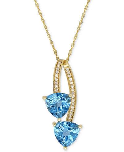 Blue Topaz (2-9/10 ct. t.w.) & Diamond Accent Pendant Necklace in 14k Gold
