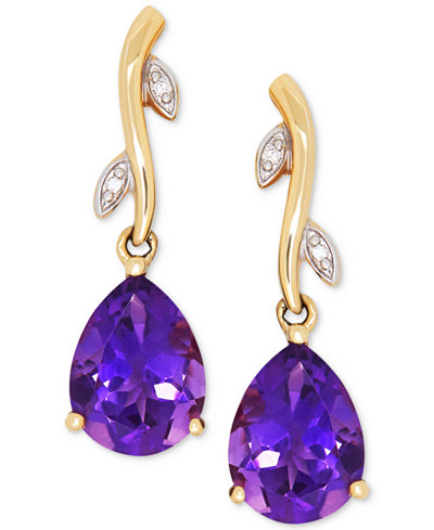 Amethyst (1-9/10 ct. t.w.) & Diamond Accent Drop Earrings in 14k Gold