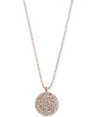 Lauren Ralph Lauren Rose GoldTone Pav Disc Pendant Necklace
