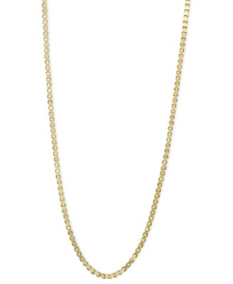 "14k Gold Necklace, 24"" Box Chain (3/4mm)"