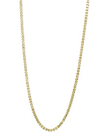 """14k Gold Necklace, 24"""" Box Chain (3/4mm)"""