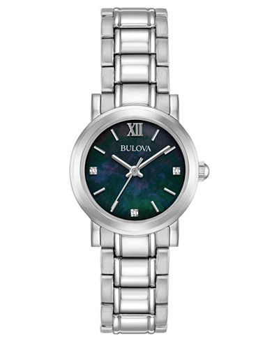 Bulova Women's Diamond Dress Diamond-Accent Stainless Steel Bracelet Watch 26mm, Created for Macy's