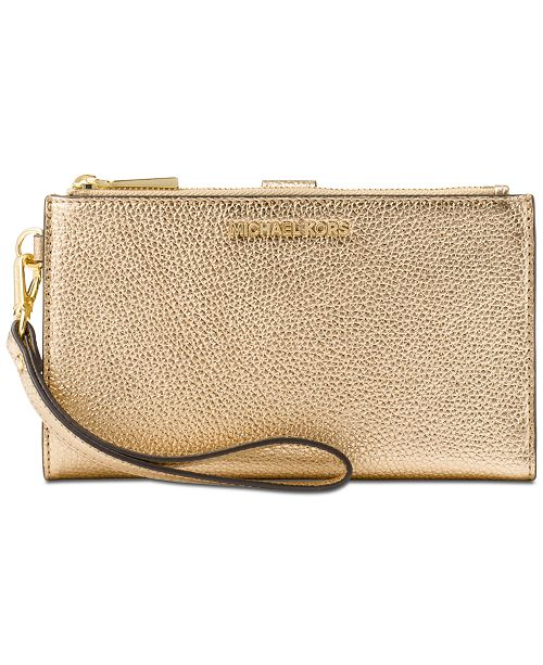 1750e4e186 Michael Kors Double-Zip Pebble Leather Phone Wristlet   Reviews ...