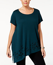 Love Scarlett Plus Size Printed Asymmetrical Tunic Top