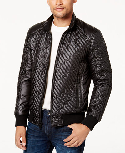 GUESS Men's Finch Quilted Bomber Jacket - Coats & Jackets - Men ... : quilted bomber jacket men - Adamdwight.com