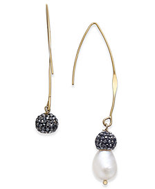 Paul & Pitü Naturally Gold-Tone Freshwater Pearl (11 x 9mm) & Fireball Threader Earrings