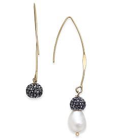 Paul & Pitü Naturally Gold-Tone Freshwater Pearl (11 x 9mm) & Fireball Threader Earrings