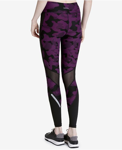 Printed Mesh-Trimmed Leggings