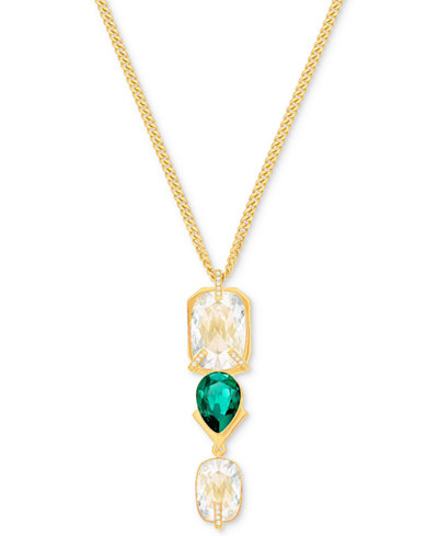 Swarovski Gold-Tone Clear & Green Crystal Pendant Necklace