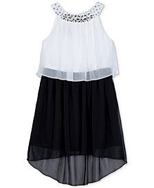 BCX Embellished Popover High-Low Dress, Little Girls
