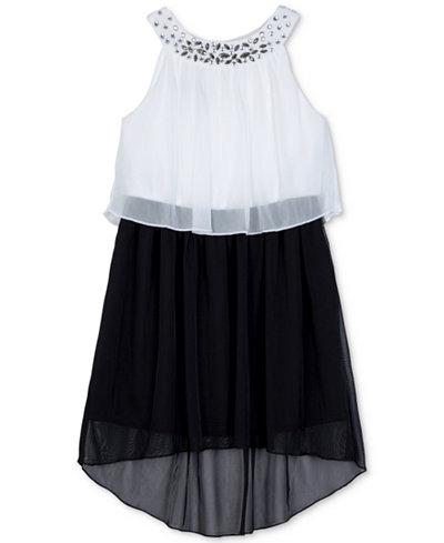 BCX Embellished Popover High-Low Dress, Little Girls