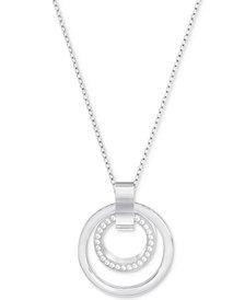 Swarovski Pavé Double-Hoop Pendant Necklace