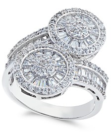 Cubic Zirconia Double Circle Bypass Ring in Sterling Silver
