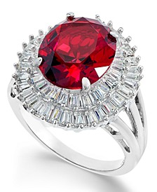 Simulated Ruby & Cubic Zirconia Double Halo Ring in Sterling Silver