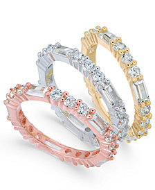 Cubic Zirconia Tri-Tone 3-Pc. Set of Stack Rings in Sterling Silver