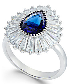 Simulated Sapphire & Cubic Zirconia Halo Ring in Sterling Silver