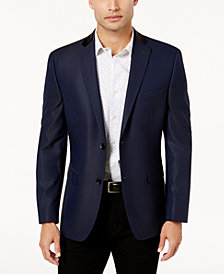 CLOSEOUT! Alfani Men's Slim-Fit Blue and Black Mini Grid Patterned Dinner Jacket, Created for Macy's