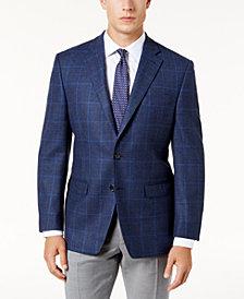 Lauren Ralph Lauren Men's Big & Tall Classic-Fit Blue and Brown Herringbone Windowpane Ultraflex Wool Sport Coat