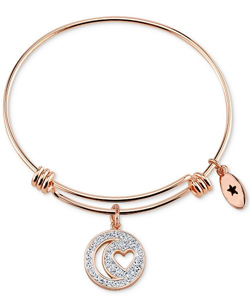 Unwritten Pavé Moon & Heart Charm Bangle Bracelet in Rose Gold-Tone Stainless Steel