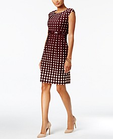 Petite Printed Belted Sheath Dress